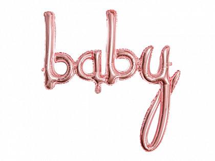"""Piepūšamais folija uzraksts """"baby"""", rozā zelts, 73.5x75.5cm"""