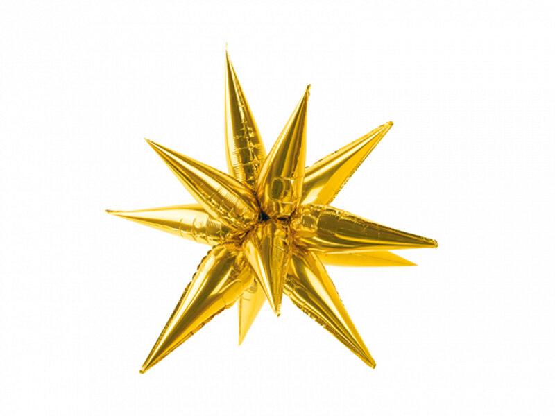 """3D folija balons """"Zvaigzne"""", zelts, 70 cm"""