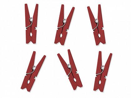 Koka drēbju šķipsnas sarkanas