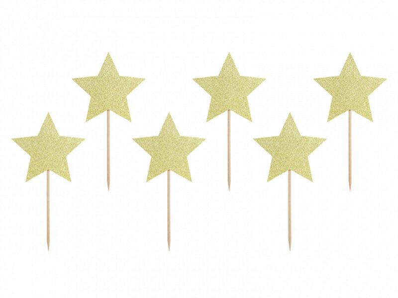 """Kūku toperi """"Zvaigznītes"""", zelta krāsa, 6 gb."""