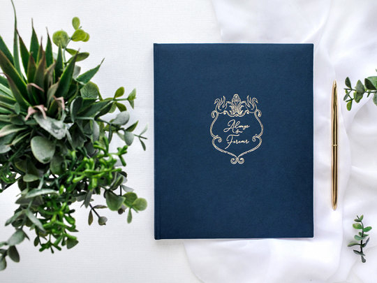 """Viesu grāmata zilā krāsā ar zelta uzrakstu """"Always & Forever"""""""