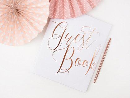 """Viesu grāmata, balta ar rozā zelta uzrakstu """"Guest Book"""""""