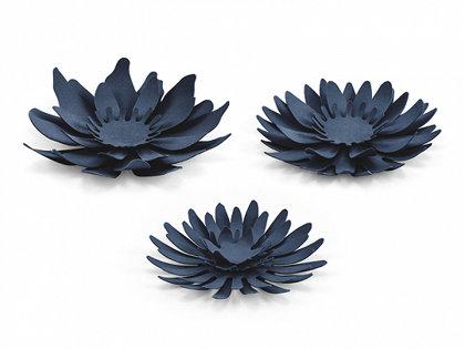 Papīra ziedi tumši zilā krāsā