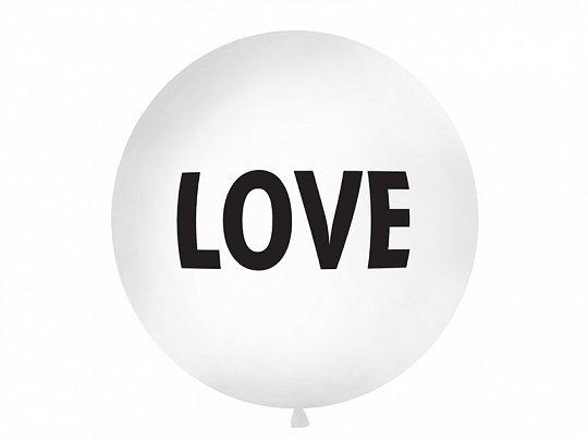 """Balts kāzu balons ar melnu uzrakstu """"LOVE"""" - 1m"""
