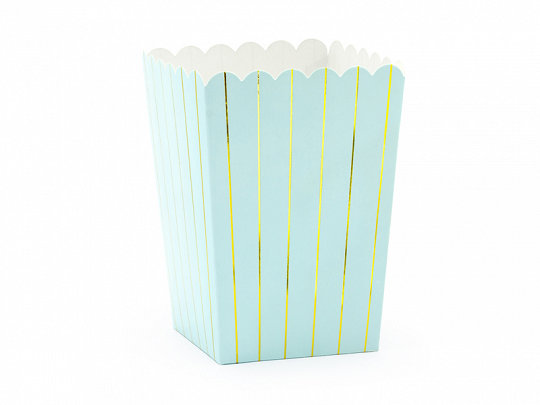 Popkorna trauki gaiši zilā krāsā ar zelta strīpām, 6 gb