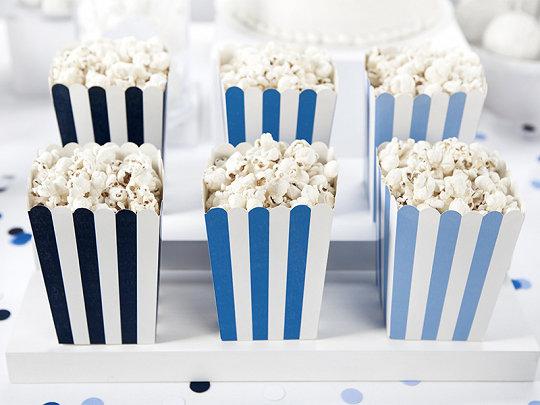 Popkorna trauki zilā krāsā ar baltām strīpām, 6 gb, 7.5x7.5x12.5 cm