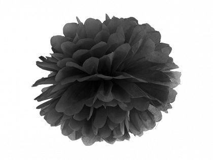 Zīdpapīra pompons, melns, 35 cm