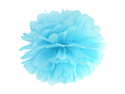 Zīdpapīra pompons, debess zils, 35 cm