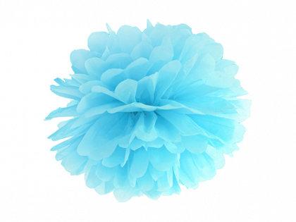 Zīdpapīra pompons, debess zils, 25 cm