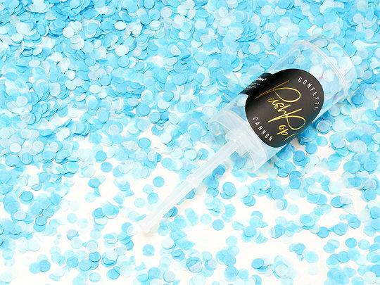 Plaukšķne Push Pop ar konfetti, gaišī zila