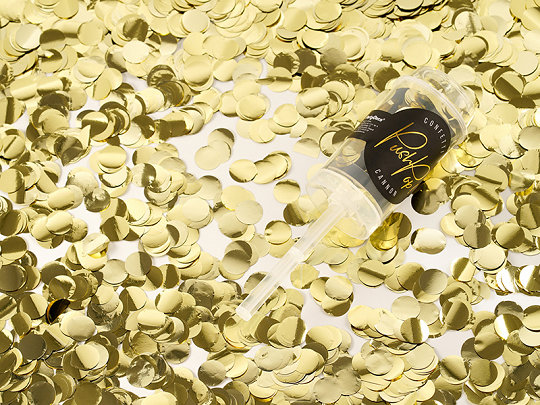 Plaukšķne Push Pop ar konfetti, zelta