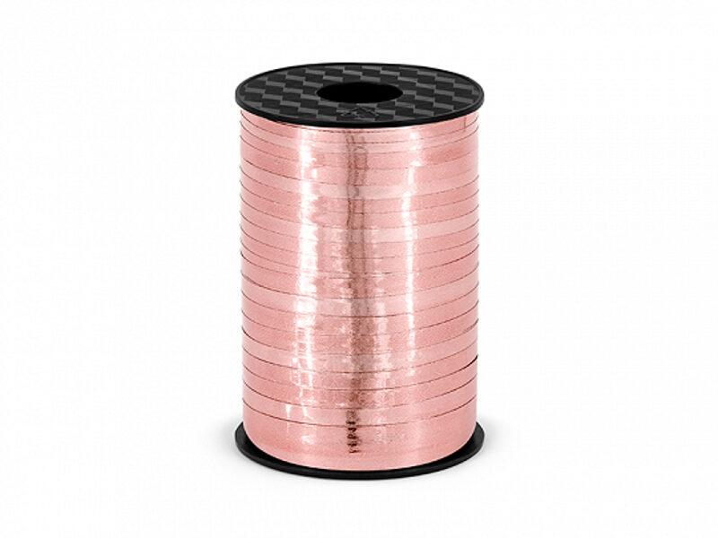 Plastikāta lente, rozā zelts, metāliska, 5 mm, 225 m