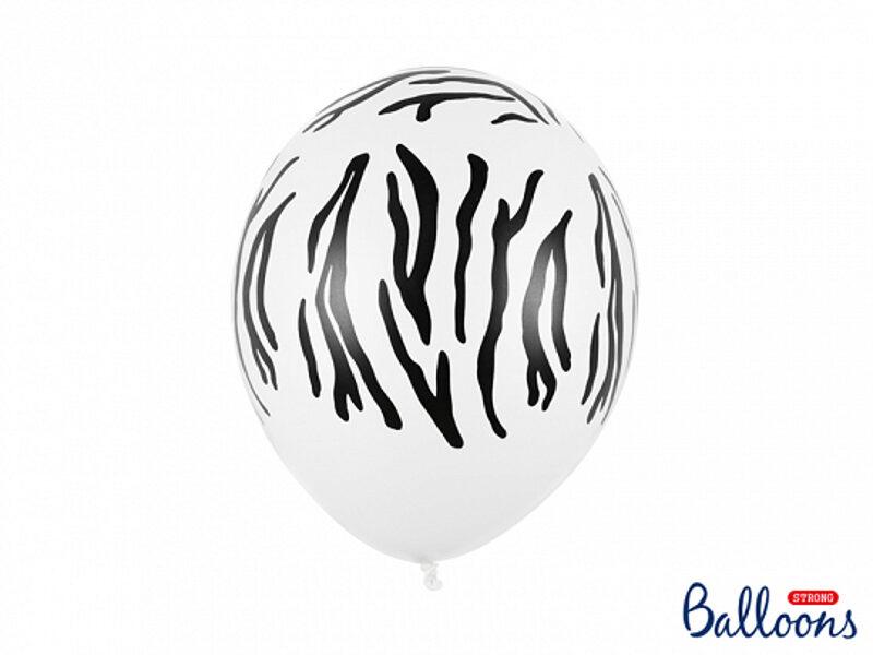 """30 cm lateksa balons """"Zebras raksts"""", baltā krāsa - 1 gb."""