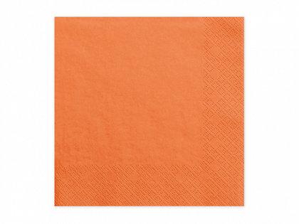 Vienkrāsainas salvetes, oranžā krāsa, 20 gb, 33x33 cm, 3 slāņi
