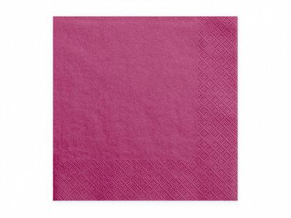 Vienkrāsainas salvetes, tumši rozā krāsa, 20 gb, 33x33 cm, 3 slāņi