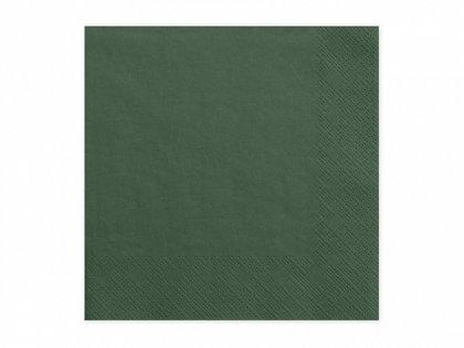 Vienkrāsainas salvetes, tumša zaļā krāsa, 20 gb, 33x33 cm, 3 slāņi