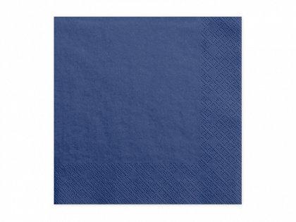 Vienkrāsainas salvetes, tumši zilā krāsa, 20 gb, 33x33 cm, 3 slāņi