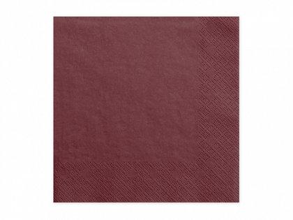Vienkrāsainas salvetes, bordo krāsa, 20 gb, 33x33 cm, 3 slāņi
