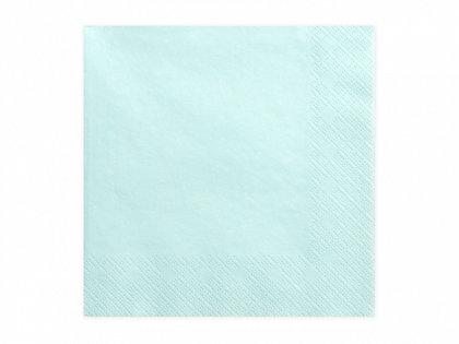 Vienkrāsainas salvetes, gaiša tirkīzā krāsa, 20 gb, 33x33 cm, 3 slāņi