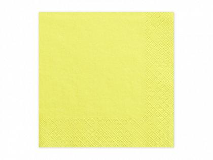 Vienkrāsainas salvetes, dzeltenā krāsa, 20 gb, 33x33 cm, 3 slāņi