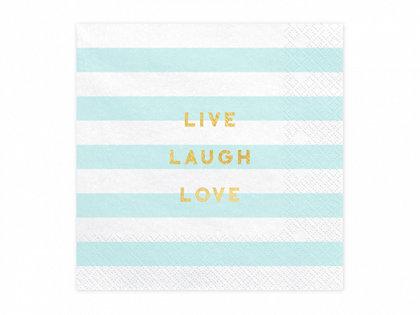 """Salvetes """"Live laugh love"""", gaiši zilā un baltā krāsa, 20 gb"""
