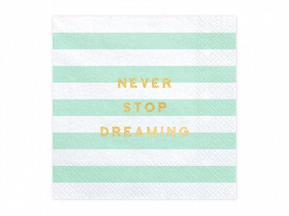 """Salvetes """"Never stop dreaming"""", mint un baltā krāsa, 20 gb"""