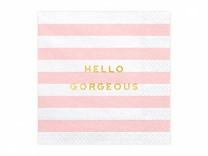 """Salvetes """"Hello gorgeous"""", gaiši rozā un baltā krāsa, 20 gb"""
