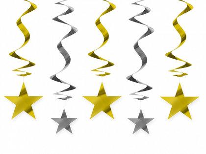 Piekaramais dekors zvaigznes, zelta un sudraba, 60 cm