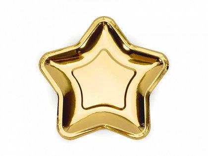 """Papīra šķīvīši """"Zvaigznes"""", zelta krāsa, 18 cm"""
