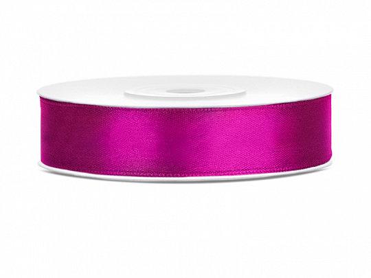 Satīna lente, 12mm/25m, spilgti rozā krāsa