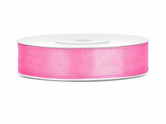Satīna lente, 12mm/25m, rozā krāsa