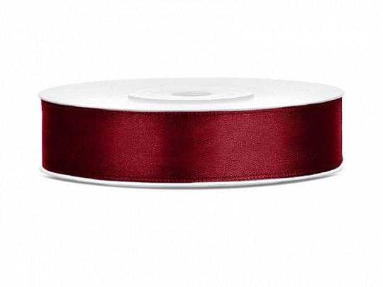 Satīna lente, 12mm/25m, bordo krāsa