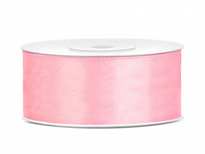 Satīna lente, 25mm/25m, gaiši rozā krāsa