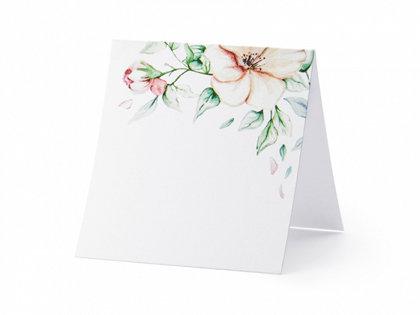 Galda kartiņas, baltā krāsā ar ziediem, 25 gb