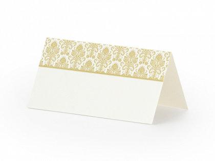 Galda kartiņas, baltā krāsā ar zelta ornamentu, 25 gb