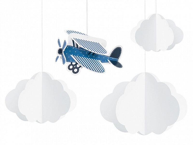 """Piekaramais dekors """"Lidmašīna un mākoņi"""", 4 elementi"""