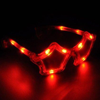 Mirdzošās brilles zvaigznes formā, sarkanā krāsā