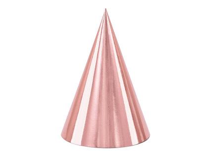 Papīra cepures rozā zelta krāsā, 6 gb