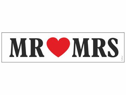 "Auto numura zīme ""Mr Mrs"", balta ar melnu uzrakstu un sarkanu sirdi"