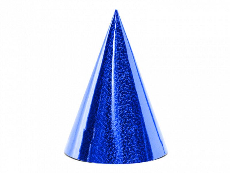 Papīra cepures zilā krāsā, hologrāfiskās, 6 gb