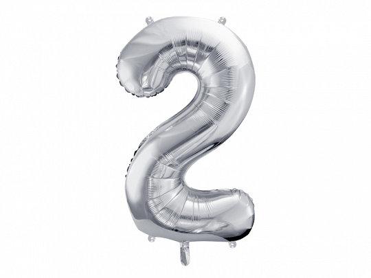 """Folija balons """"2"""", 86 cm, sudraba krāsa"""