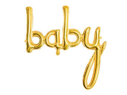 """Piepūšamais folija uzraksts """"baby"""", zeltā krāsa, 73.5x75.5cm"""