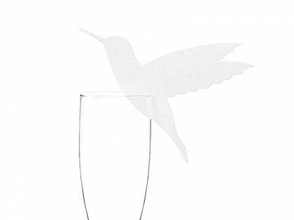 Galda kartiņas, baltā krāsā putniņa formā, 10 gb