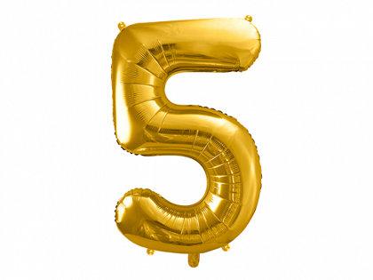 """Folija balons """"5"""", 86 cm, zelta krāsa"""