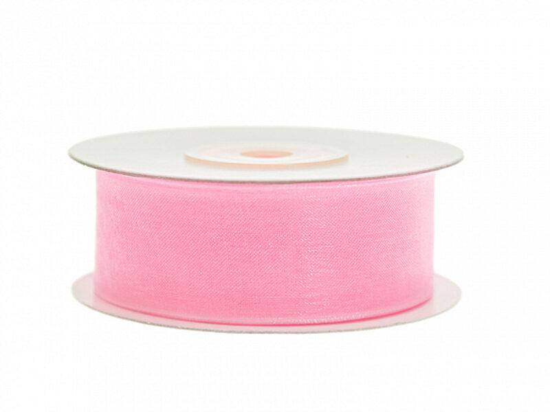 Šifona lente, gaiši rozā, 25 mm x 25 m