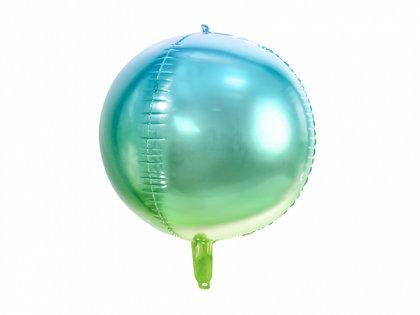 """Folija balons """"Ombre"""", apaļš, 35 cm, zilā un zaļā krāsa"""