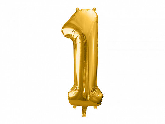 """Folija balons """"1"""", 86 cm, zelta krāsa"""