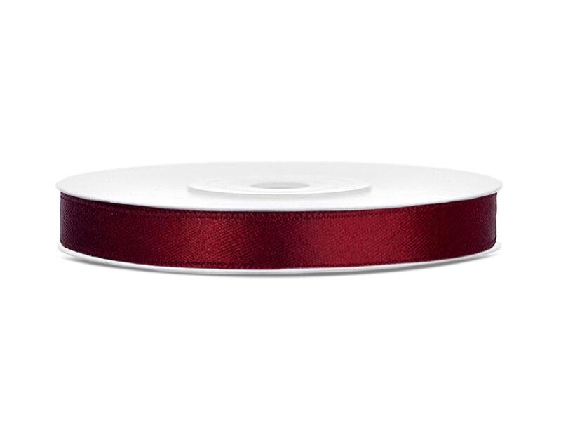 Satīna lente, 6mm/25m, bordo krāsa ar šo