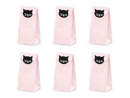 """Papīra maisiņi """"Kaķīši"""", gaiši rozā krāsā ar melnām uzlīmēm"""