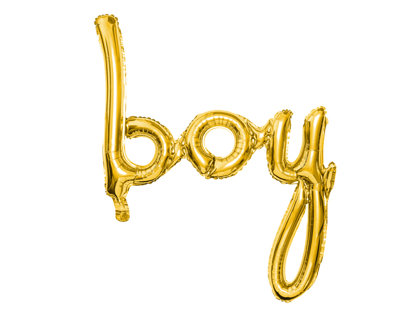 """Piepūšamais folija uzraksts """"boy"""", zeltā krāsa, 63.5x74cm"""